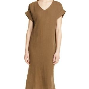 Eileen Fisher Lofty Midi Shift Dress Brown LQ182